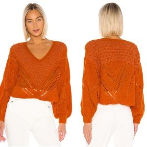 Free People Snowball Sweater V-neck open knit XL